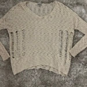 Lucca Couture Distressed Sweater in Ivory - L